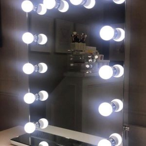800 H X 500 Hollywood Style Vanity Top Frameless Mirror with LED Bulbs
