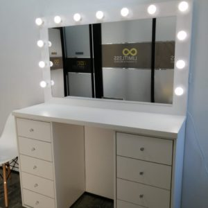 1300L X 910H 10 Drawer makeup vanity with framed Hollywood mirror(White)