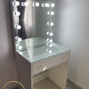 700L X 810H 1 Drawer Glass top vanity with frameless Hollywood mirror (White)