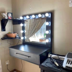 800L X 500D 1 Drawer floating vanity with framed Hollywood mirror (Black/White)
