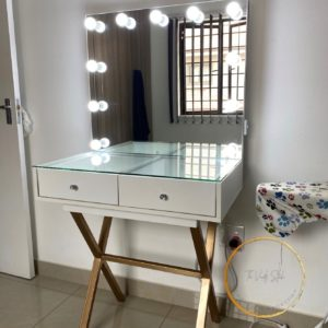 800L X 500D 2 Drawer glass top vanity with frameless Hollywood style mirror & steel legs available in gold,silver,white & black Vanity only available in black or white