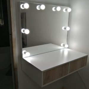 800L X 500D 2 Drawer makeup vanity with frameless Hollywood mirror & Pop-open drawers (White)