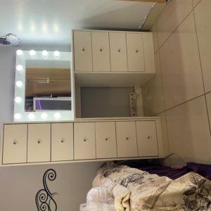 800L X 810H 4 Drawer makeup Vanity with 1800H X 450W 7 Drawer tall boy storage unit (White)