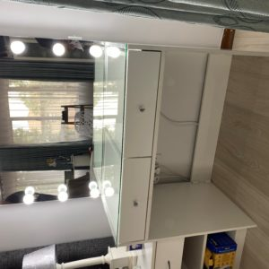 900 X 500 2 Drawer Glass top Vanity with Frameless Hollywood Mirror
