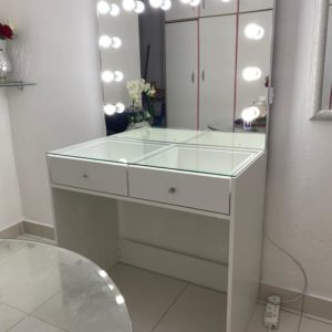 900 X 500 X 810 2 DRAWER GLASS TOP MAKEUP STATION