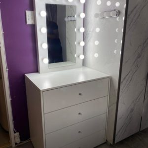 750 X 810 X 500 4 DRAWER VANITY WITH FRAMED HOLLYWOOD MIRROR