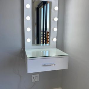 500 X 800 1 DRAWER FLOATING VANITY WITH FRAMED HOLLYWOOD MIRROR