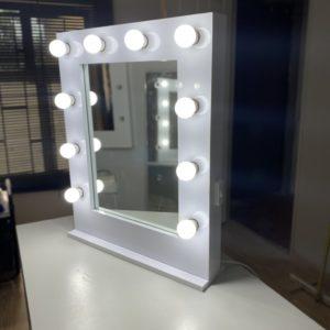 700 X 550 gloss white framed Hollywood mirror