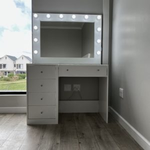 5 Drawer Glass Top Glam Station